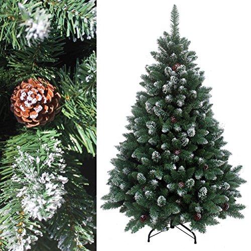 RS Trade® 150 cm ca. 760 Spitzen, Exklusiver dekorierter künstlicher Weihnachtsbaum mit Metallständer, beschneiten Spitzen und Tannenzapfen Deko, Farbe Natur-Schnee HXT 15013