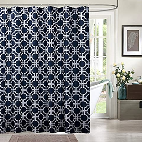 Comfysail Blue Background White Flower 3D Printing Extra Large Waterproof Mouldproof Bathroom 100% Polyester Fabric Shower Curtain With 12 Stainless Steel Hooks (Blue)