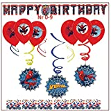 Libetui 'Spiderman' Kinder Geburtstag Dekoration Set Happy Birthday Deko Partykette Spirale Girlande Spiderman Luftballons Konfetti, für jeden Alter