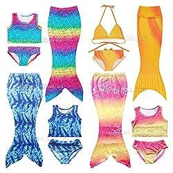 Wocharm Mermaid Tail Costume Childs Swimwear Swimsuit 3 Pieces Bikini Set For Kids Girl 100-140cm Rainbow Yellow Blue