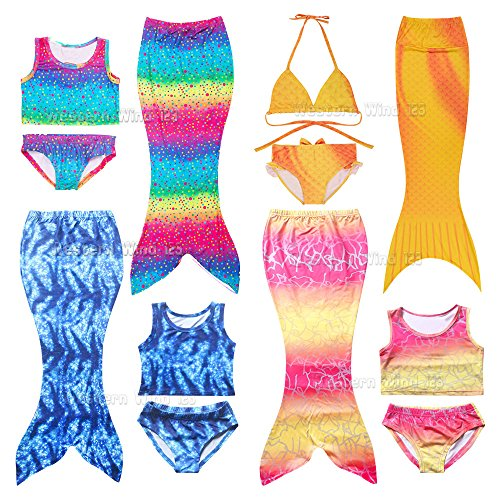Wocharm Mermaid Tail Costume Childs Swimwear Swimsuit 3 Pieces Bikini Set For Kids Girl 100-140cm Rainbow Yellow Blue