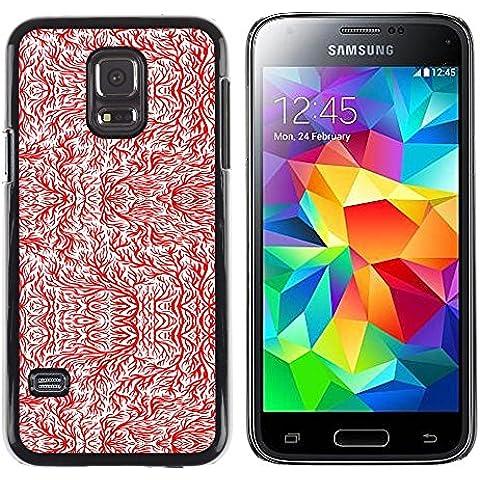 GooooStore/ Dura Custodia Rigida della copertura della cassa - Wallpaper Tree Branch Red White Twig Art - Samsung Galaxy S5 Mini, SM-G800, NOT S5 REGULAR! - Mini Twig