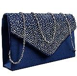 Pochette Femme Mariage Soirée Sac à Main Bandouliere Chaine Diamant Bal Sac à Main - Satin (bleu marine)
