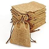 Marrone 20 Pezzi Sacchetti Regalo in Iuta Naturale 14 x 9cm Sacchetto Juta Bomboniera Matrimonio Confezione Buste