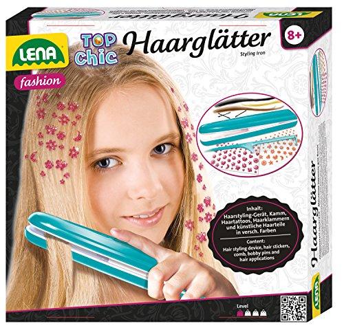 61p aAKMOUL - Lena 42537 Top Chic - Set de Plancha de Pelo para niños a Partir de 8 años con Dispositivo de Peinado a Pilas, Tatuajes para el Pelo, Peine, Piezas para el Pelo en 3 Colores y Pinzas para el Pelo