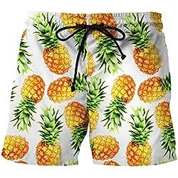 Ocean Plus Hombre Pantalón Corto Bañador Verano Hawaii Beaches UV con Cordón, Piña, M