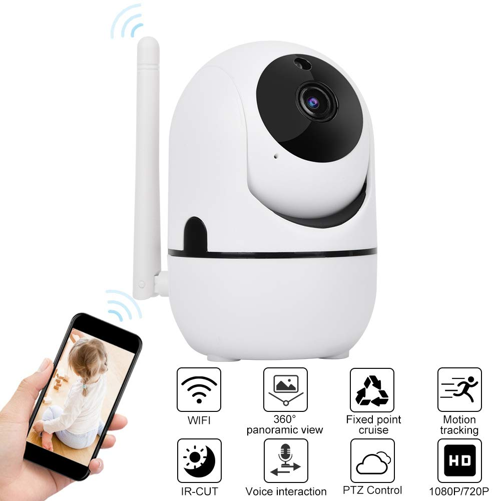 Baby Monitor 720P/1080P HD WiFi Camera Baby Pet Monitor, Smart Wireless IP  Camera Indoor Camera with Night Vision and Motion Tracking White(1080P)