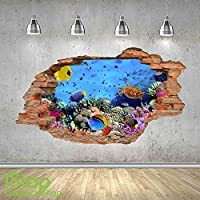 1Stop Graphics Shop TROPICAL FISH WALL STICKER 3D LOOK - OCEAN DOLPHIN PORTHOLE BEACH BEDROOM LOUNGE Z448 Size: Large