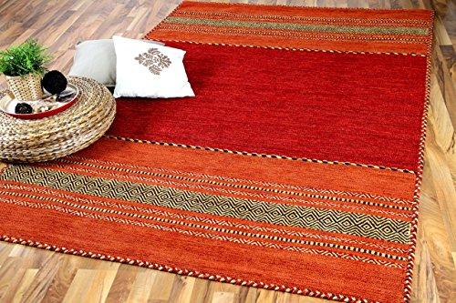 Navarro Natur Teppich Bauwolle Kelim Rot Orange in 6 Größen