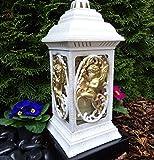 ♥ GRABLAMPE GRABLATERNE MIT Engel incl.GRABKERZE 36,0cm GRABSCHMUCK Herz GRABLEUCHTE Friedhof Lampe Grablicht Laterne LICHT Kerze