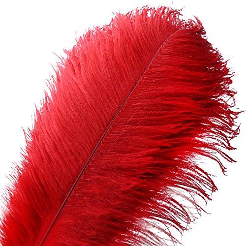 VoilaLove 10 stücke Natürliche Straußenfedern Handwerk 16-18 Zoll (40-45 cm) Plume für Hochzeit Mittelstücke Dekoration (40-45 cm,Rot) (40. Geburtstag Für Mittelstücke)