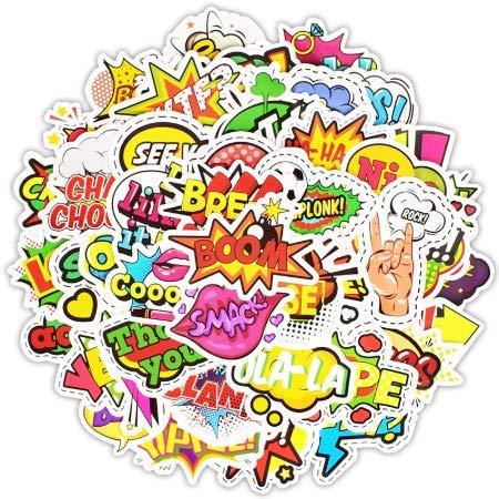 ojvvop Pop Art Stil Graffiti Brief Aufkleber Kinder wasserdichte Aufkleber Spielzeug für Moto Auto Koffer Auto Skateboard Aufkleber 100 stücke (Macbook Decal-brief)