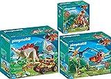 Playmo PLAYMOBIL® The Explorers 3er Set 9430 9431 9432 Helikopter mit Flugsaurier + Motocross-Bike mit Raptor + Forschermobil mit Stegosaurus
