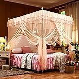 Letto Matrimoniale con Zanzariera Canopy Polyester per La Casa Fly Insect Protection Tubo da 1 5m A 2m Indoor Decorative in Acciaio Inossidabile,Cream-2 * 2.2m