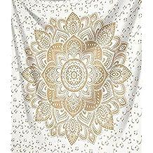 Raajsee - Exclusivo tapiz, diseño mándala de color dorado, ropa de cama, Multicolor