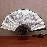 GUYOUYY Ventilateur pliant/10 pouces/soie grand ventilateur style chinois antique pliant fan/bambou fan artisanat cadeau pliant ventilateur personnalisé,13 pouces au sud du Yunnan paysage