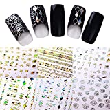 NICOLE DIARY 7 Blätter Holographic Nail Sticker Gold Silber Adhesive Rhombus Geometric hohle Laser-Nagel-Kunst-Dekoration (7 Muster)