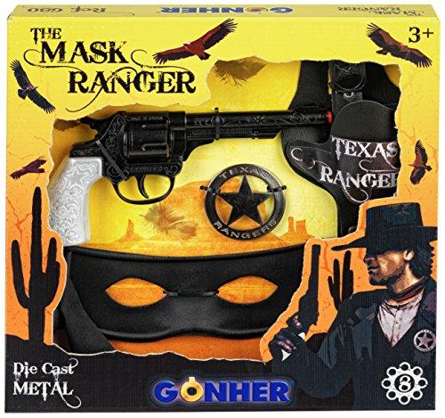 Gohner die Maske taxas Ranger mit 8-Schuss Pistole Sheriff (Black Bandit Kostüm)