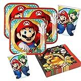 36-teiliges Party-Set Super Mario - Teller Becher Servietten für 8 Kinder
