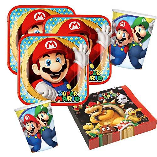 Preisvergleich Produktbild 36-teiliges Party-Set Super Mario - Teller Becher Servietten für 8 Kinder