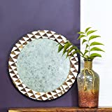Casa Decor Brianna`s Pier Glass Mirror Wall Hanging Wooden Wall Decor Round Shape For Living Room, Bedroom, Kids Room