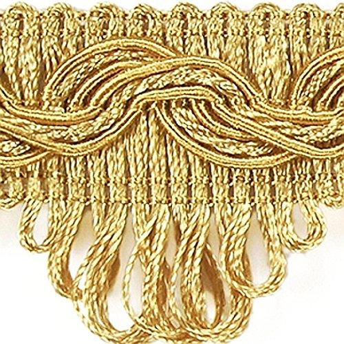 Posamentenborte Breite 35 mm Farbe Gold/ Honiggelb Meterware Brokatborten Dekoborte Bordüre Borte mit Posamenten Fransen Brokat Spitze Bordüre...