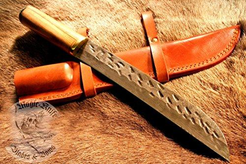 3/1/6 Damast Stahl Mittelalter Messer im sax Style LARP Kelten Wikinger Lederscheide