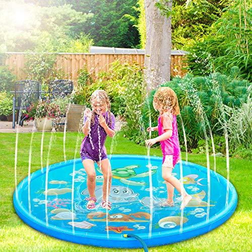 Nasharia Splash Pad, Sprinkler Wasser-Spielmatte, Sommer Garten Wasserspielzeug Kinder Baby Pool Pad Spritzen für Outdoor Familie Aktivitäten/Party/Strand/Garten