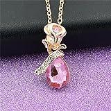 Joyas casuales! Ornamento de la joyería del collar de la aleación de la gota del agua del colgante de Rose de las mujeres de Longra