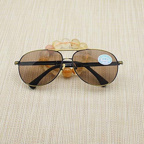LKVNHP Hohe Qualität Glas Sonnenbrille Männer Luftfahrt Braun Anti Dry Natürliche Kristall Objektiv Sonnenbrille Für Mann Anti Reflexion Uv400Gold Rahmen