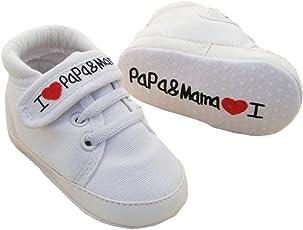 EROSPA® Babyschuhe I Love Mama & Papa Lauflernschuhe Unisex Mädchen Jungen Sneaker Schühchen weiche Sohle 12 cm