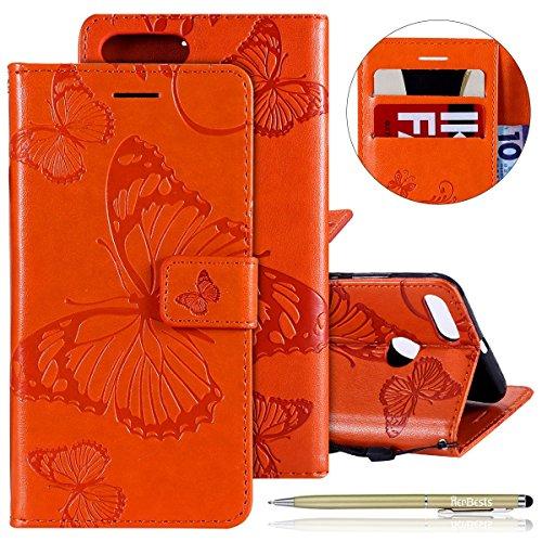 Herbests Kompatibel mit Leder Handy Schutzhülle Xiaomi Mi 5X / Mi A1 Lederhülle Schmetterling Muster Leder Handyhülle Handytasche Brieftasche Ledertasche Bookstyle Flip Case Cover Klapphülle,Orange