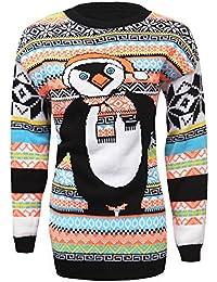 Femmes Noël 2Rennes en gewirken manches longues pour Noël Jumper Pull 36–42UE (UE 40–42(UK 12/14), Penguin Aztec Orange de)