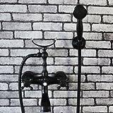 Hiendure® Wandhalterung Badarmaturen Badewanne Duscharmaturen mit Handbrausekopfhalter , Öl rieb Bronze