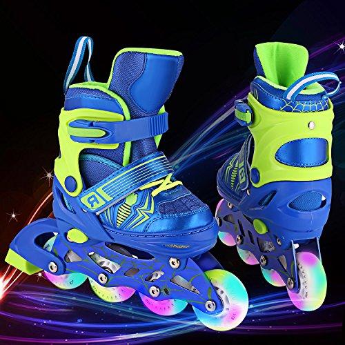 Imposes Inliner Kinder, LED Inline Skates Rollerblades für Mädchen und Jungen, Inlineskates für Anfänger, größenverstellbar 31-42 Rollerskates Rosa Blau(DE-Lager)
