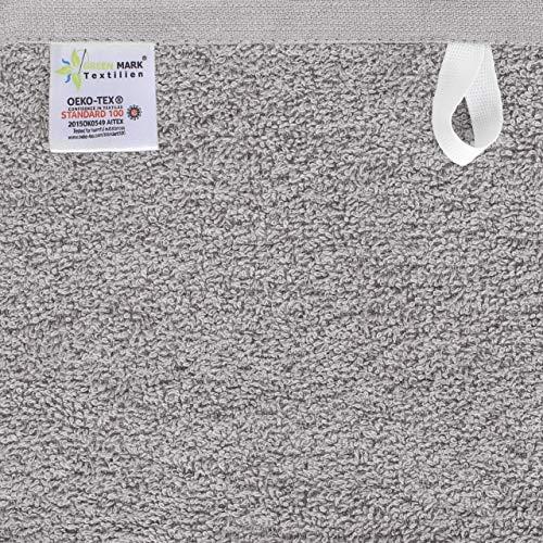 NatureMark NM-HT0701 8-er Spar-Pack Frottier Handtücher, 50 x 100 cm, Silber grau