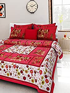 2dots King Size Bedsheet | Stitched | Rapid Print Double Bed Sheet & 2 Zip Pillow Covers Animal Pattern Red