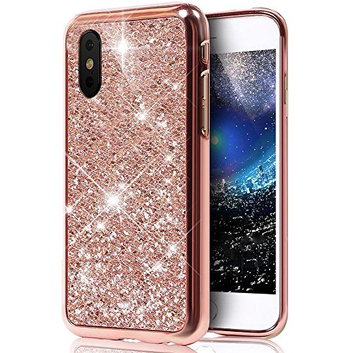 iPhone X Coque TPU Full Body,iPhone X Case Crystal Clear,Hpory Beau élégant Luxury [Full Body] [Tactile 360 Degrés] Ultra Thin Transparent Soft TPU Gel Silicone Cristal Clair Etui Housse de Protection Pailletee,Rose Gold