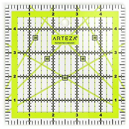 """ARTEZA Regla de acrílico para costura y patronaje   Líneas de cuadrícula en dos colores   Regla de patchwork   Tamaño 5 x 5"""""""