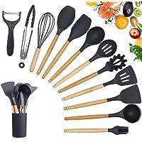 RAIN QUEEN Set d'Ustensiles de Cuisine Silicone Antiadhésive 11 ustensiles de Cuisine kit Manche en Bois Résistant à La…