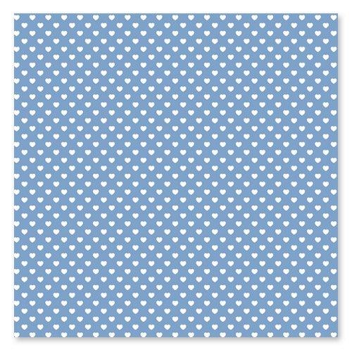 Quadrato di feltro stampato cuori 1 mm 30x30 cm Azzurro/Bianco x1