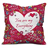 #8: Valentine Gifts for Boyfriend Girlfriend Love Printed Cushion 12X12 Pillow with Filler Insert Pink You are My Everything Gift for Him Her Fiance Spouse Birthday Anniversary Everyday Gift
