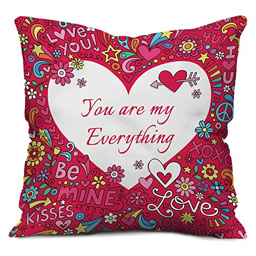 Valentine Gifts for Boyfriend Girlfriend Love Printed Cushion 12X12 Pillow with Filler Insert Pink You are My Everything Gift for Him Her Fiance Spouce Birthday Anniversary Everyday Gift