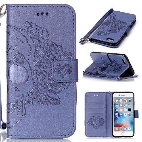 iPhone 6 Coque, iPhone 6 Etui,Ultra Slim Flip PU Cuir Portefeuille Wallet Case Cover Housse Etui avec Fonction Stand pour Apple iPhone 6 -Fleur bleue Crâne bleu