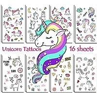 Jatidne Tatuajes Unicornio temporales niños Unicornio Partido 16 Hojas (288 Piezas)