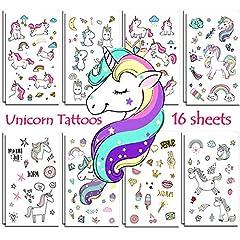 Idea Regalo - Jatidne Tatuaggi Unicorno temporanei Bambini Unicorno Party 16 Fogli (288 Pezzi)