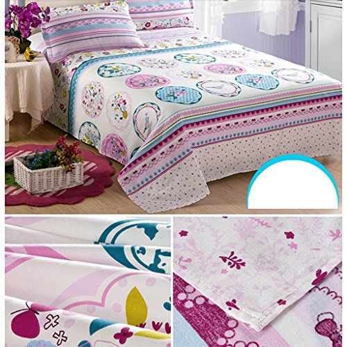 WYQLZ Pink Flower Pattern Cotton Twill Bettwäsche Einzelstück Student Dormitory Single Doppelbett Bettdecken Thicker Bed Sheet ( größe : 230*250cm ) - 2