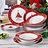 Kombiservice 18 tlg. Set aus Porzellan, Teller Set, mit je 6 Dessertteller, Speiseteller und Tiefteller, Geschenk für Weihnachten