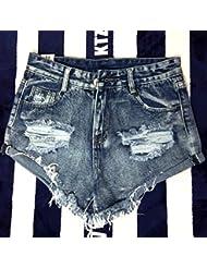 WHTLL-Le trou All-match de Thin Lipped Denim Shorts
