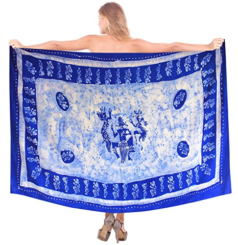 LA LEELA verschleiern Bademode Swimsuit Badeanzug Batik-Wickelrock blau Sarong -